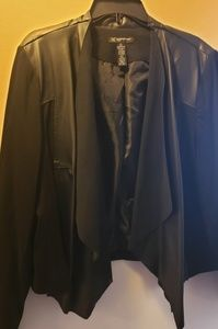 INC Draped Front Black Faux-Leather Jacket